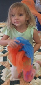 Yuliya, 3 years of age dancing with scarves in class